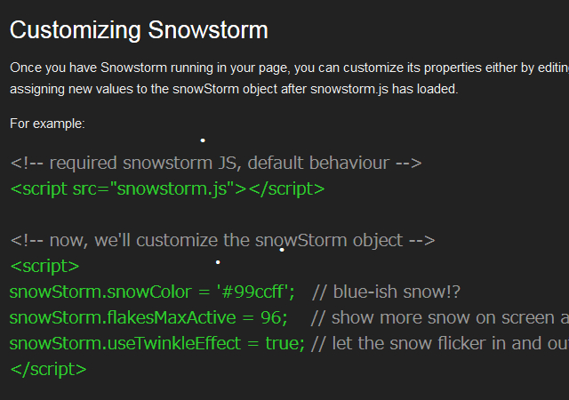 Customizing Snowstorm